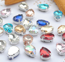 Drop Mix different colors Super beauty top quality glass crystal flatback sew on claw rhinestones diy Clothing accessories 20pcs