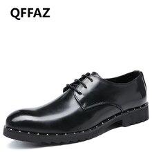 QFFAZ 2018 New Brand Luxury Genuine Patent Leather Men Wedding Dress Shoes Fashion Men Oxfords Formal Zapatos Hombre