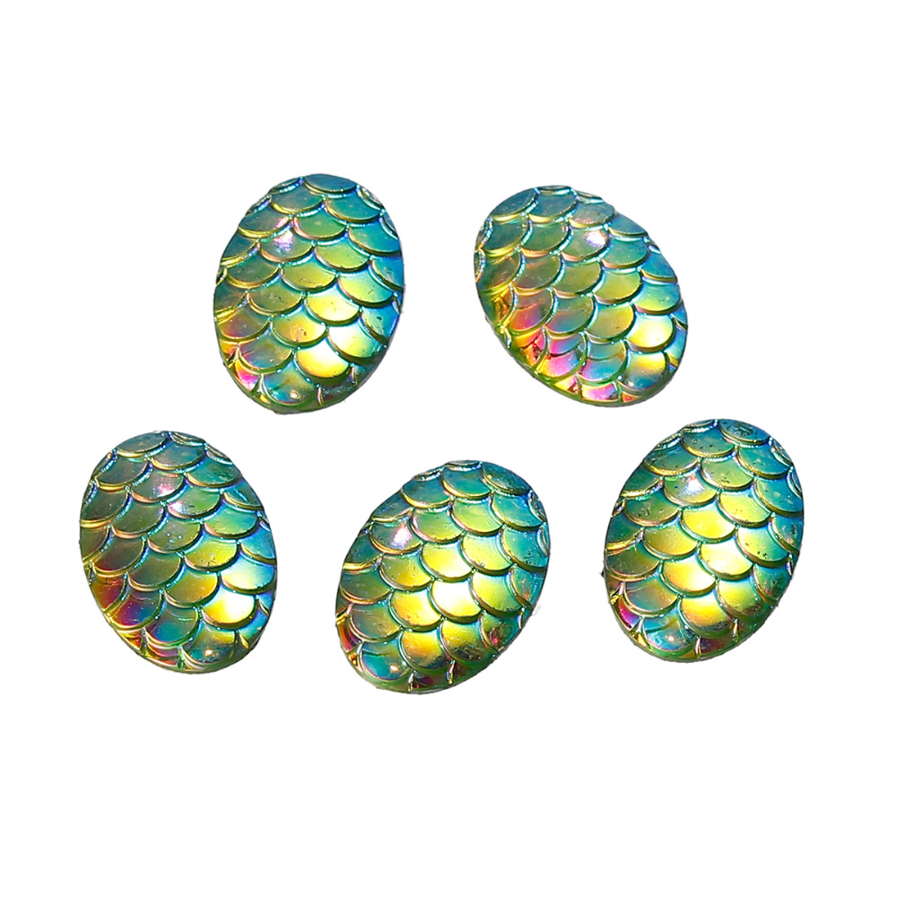 doreenbeads-resin-mermaid-fish-dragon-scale-dome-seals-cabochon-oval-green-ab-color-18mm-6-8-x-13mm-