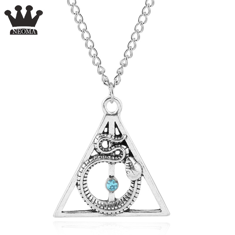 Hp Series <font><b>Hogwarts</b></font> The Deathly Hallows Cosplay <font><b>Necklace</b></font> Pendants Lord Voldemort Triangle Snake <font><b>Necklaces</b></font> Magic Gift image