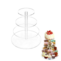 4 Layer Transparent Acrylic Cupcake Stand Party Cake Stand Cup Cake Stand Dessert Snack Rack Baking Decorating Accessiores