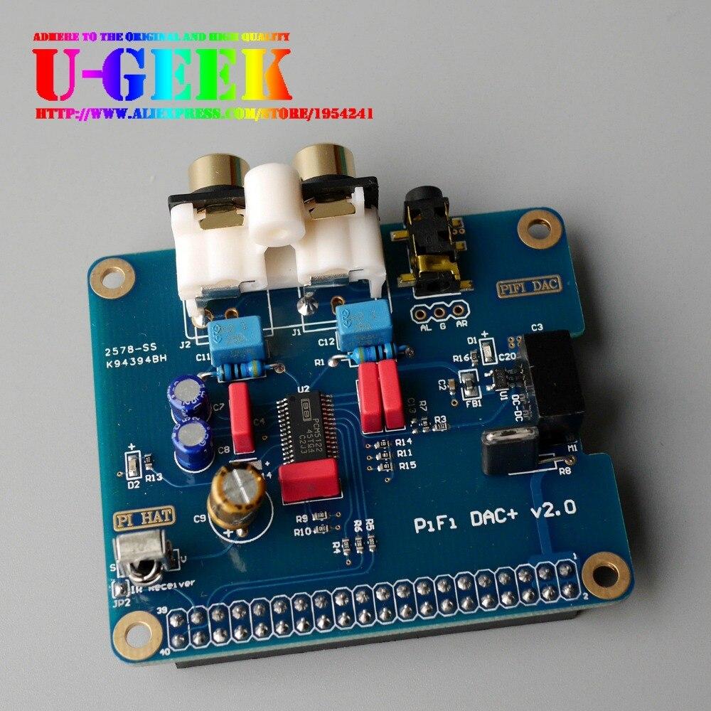 UGEEK HIFI DAC+ Plus Audio Sound Card Module I2S interface for Raspberry Pi 3 Model B 2B 2 B B+ A+ Zero | DIY Your HiFi Player! raspberry pi 3 audio sound card module i2s interface hifi dac expansion board black acrylic case for raspberry pi 2 3 model b