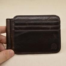 Vintage Crazy Horse Leather Money Clip wallet men's slim Brand Cow genuine Leather mens wallet money holder clip wallet