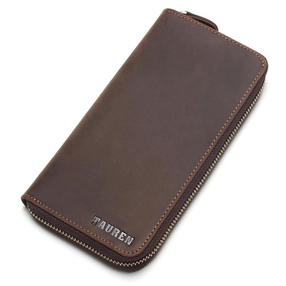 New men's crazy horse leather long large-capacity wallet Retro first layer leather mobile phone bag multi-pocket multi-card clut the 2018 new first layer of real leather ma am oil wax retro high capacity multi card bit long wallet clutch ma am genuine
