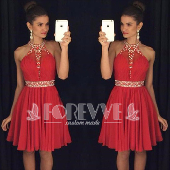 New Red Crystal Short Prom Dress Halter Neck Formal Dress Party Dresses Abendkleider 2019 Robe De Soiree Courte Evening Gown