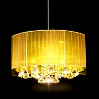 Modern oval k9 crystal Brushed fabric lampshade Pendant Lights living room lamps E14 Led Lustre lighting fixtures
