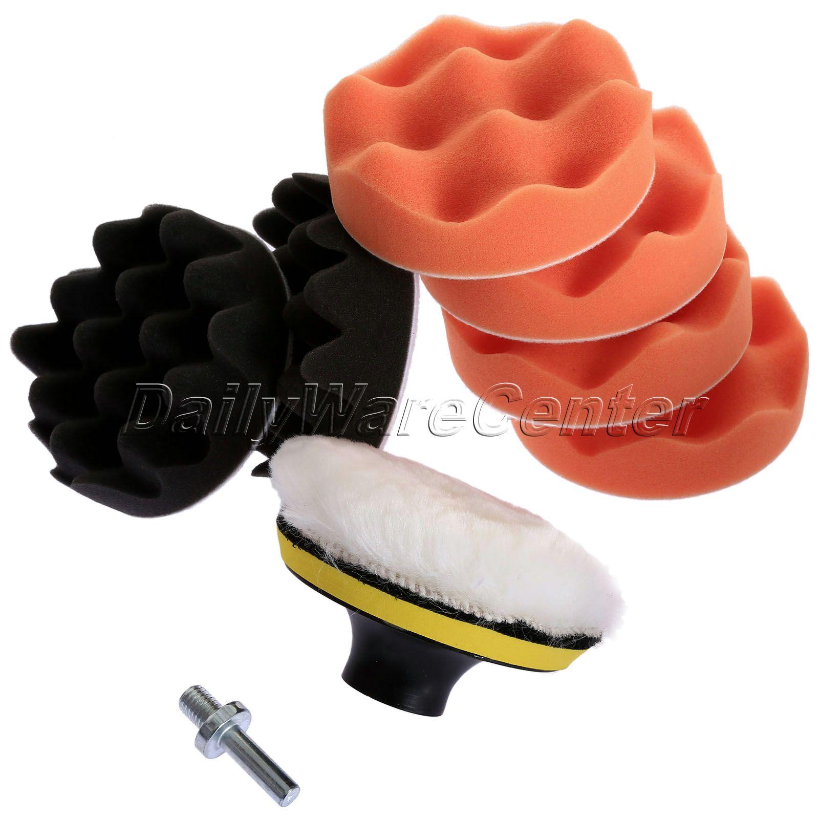 9 pcs 4 Polegada Detendo Esponja Roda Lustrando Pad Kit Composto de Polimento Auto Carro Kit + M10 Broca Adaptador Do Carro cuidado na lavagem Ferramenta de Limpeza