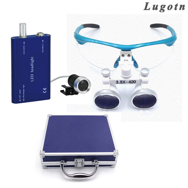 Metal box 3.5 times magnification promotion price top quality dental loupe with led headlight surgical magnifier enlarger 2017 blue high quality magnification 2 5x dental loupe with portable led headlight lamp 188044 uc
