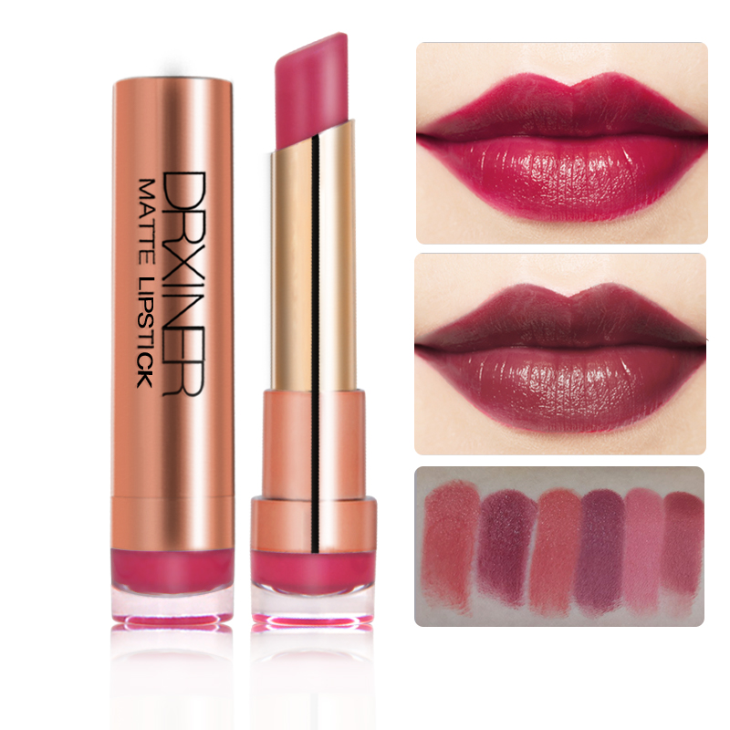 DRXINER Matte Lipstick New Rouge Matte Soft Creamy Moisturizing Lipstick Makeup Long Lasting Waterproof Velvet Smooth Beauty