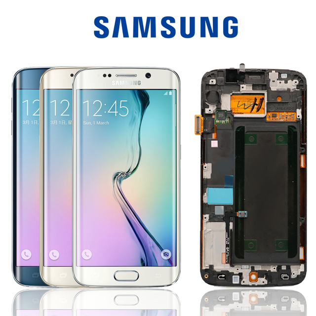 US $57 6 25% OFF ORIGINAL 5 1'' Display Super AMOLED for SAMSUNG Galaxy s6  edge LCD + Frame G925 G925F G925I Touch Screen Digitizer Replacement-in