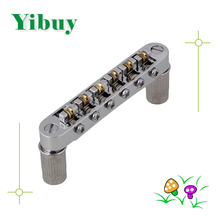 Yibuy Silver Roller Saddle Bridge for Guitar Replacement with Locking Posts