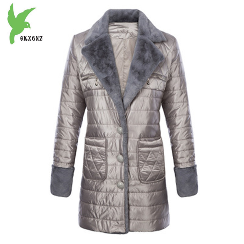 New Women Winter Down cotton Jacket Coats Medium length Parkas Plus size Female Thick warm Jackets Flocking Outerwear OKXGNZ1118 winter women denim jacket flocking coats new fashion hooded cotton parkas plus size jackets female warm casual outerwear l384