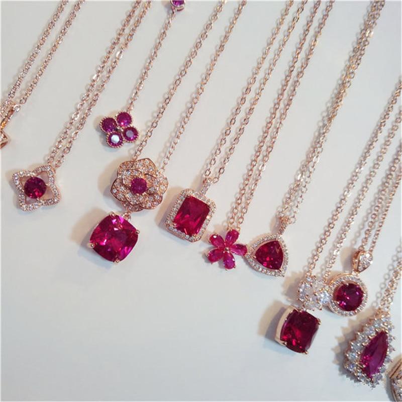 Ribbon Silver Gold Filled Pendentif Rouge Rubis Cristal Femmes Lady Chaîne Collier Sautoir Box