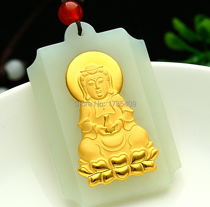 100% Natural Nephrite Hetian and 24K Yellow gold Carved Kuwan-Yin Pendant pure 24k yellow gold natural jadeite carved dragon phoenix pendant