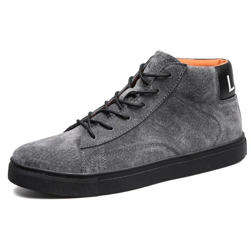 Мода Досуг Плоские вулканическая обувь для Для мужчин зимние с высоким верхом на шнуровке Повседневная обувь Швейные Твердые Мальчики Студ...