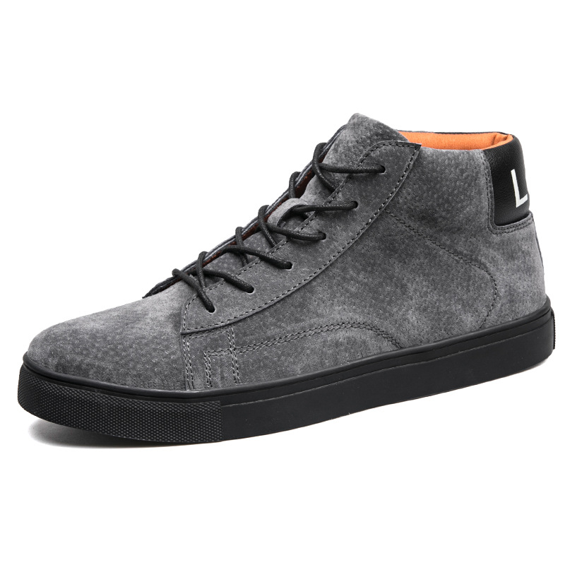 Fashion Leisure Flat Vulcanize Shoes for Men Winter High Top Lace-up Casual Shoes Sewing Solid Boys Students Sneakers