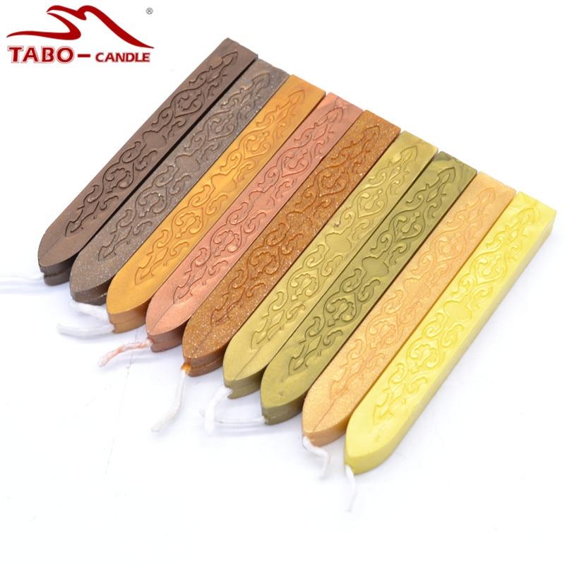все цены на 9 pcs Vintage Cooper Bronze Golden Color Sealing Wax Stick with Wick for DIY Craft Sealing Stamp Envelope Decoration