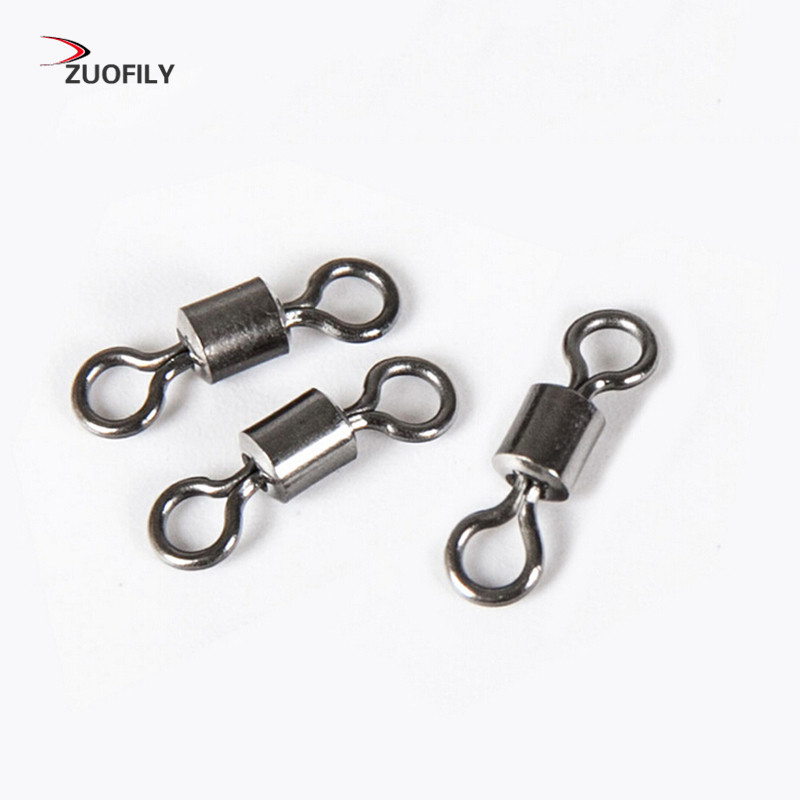 New Hot 50PCS Fishing Barrel Bearing Rolling Swivel Solid Ring LB Lures Connector 11 Size(China)