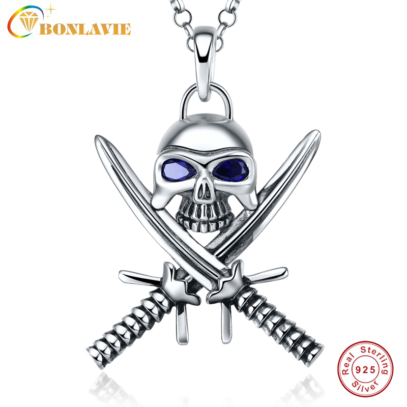 1 Piece 925 Sterling Silver Halloween Vintage Punk Gothic Necklace Double Knife Skull Necklace Pirate Jewelry