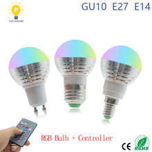 1PCS/Lot 5W rgb bulb E27 E14 GU10 LED Bulb Light Stage Lamp16 Colors with Remote Control Led Lights for Home AC85-265V rgb lamp(China)