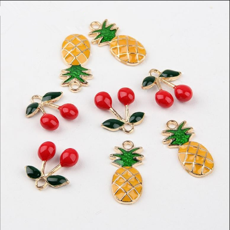 New arrived alloy material Cherry/pineapple Shape gold-color 50pcs/lot fashion charms diy earring/necklace jewelry accessory