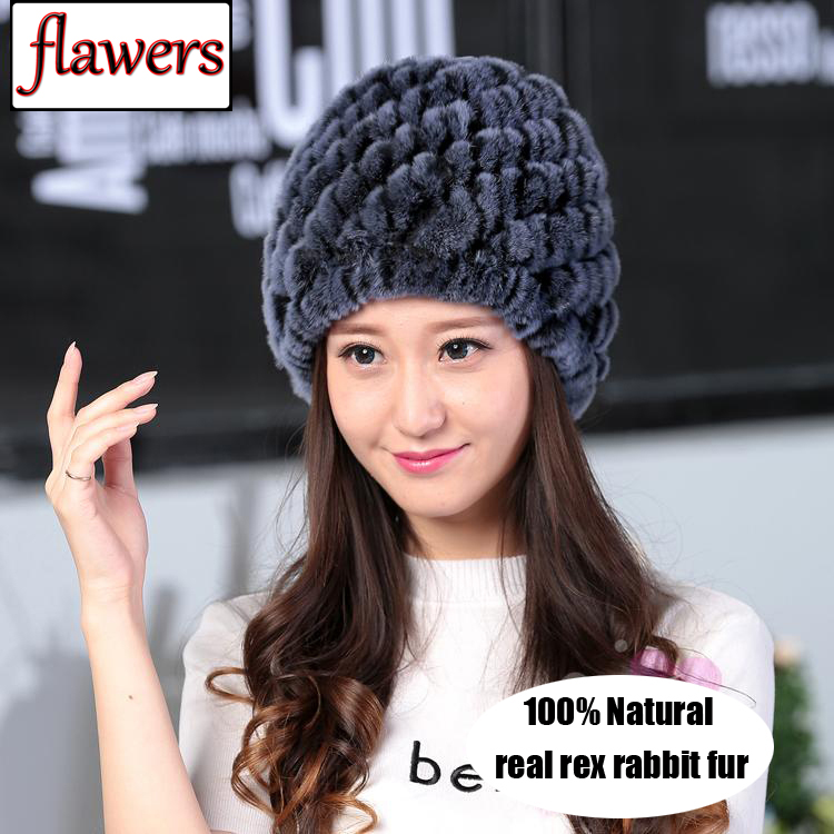 Russian Lady Winter Natural Real Rex Rabbit Fur Hat Girl 100% Rex Rabbit Fur Cap Warm Knitted Genuine Fur   Skullies     Beanies   Hats