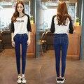 2017 Nuevas Mujeres Jeans Pantalones Lápiz Sólido Color Puro Original Simple Estilo Regular Súper Elástico Jeans Plus Size Slim MT281