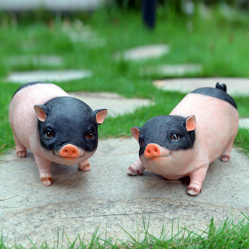 Lovely Pig Creative Home Accessories Birthday Gift Imitation Resins Animal Set Garden Decoration Yard