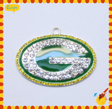 50*32MM 10Pcs/Lot Sport team AAA Quality Greenbay Rhinestone Pendant For Kid's Necklace Jewelry