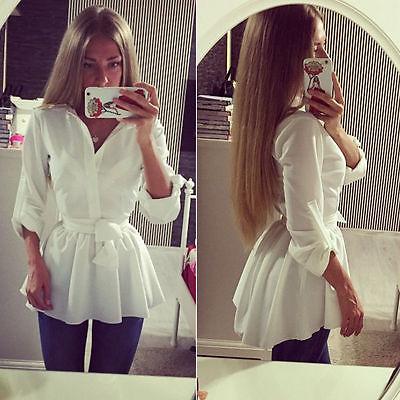 Женская белая блузка с длинным рукавом, V-образным вырезом и поясом