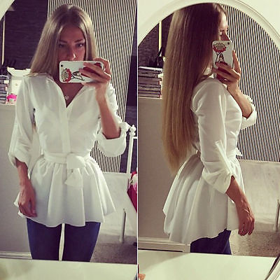NEW Women's   Blouse     Shirt   Long Sleeve Button Down Casual Tops Ladies Slim   Shirt