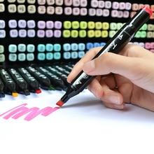 Лучшие 12/30/40 Цвета Dual Head Книги по искусству Маркер Комплект жирной эскиз Маркеры Ручка Кисточки рисунок пером Маркеры для манга анимация Дизайн