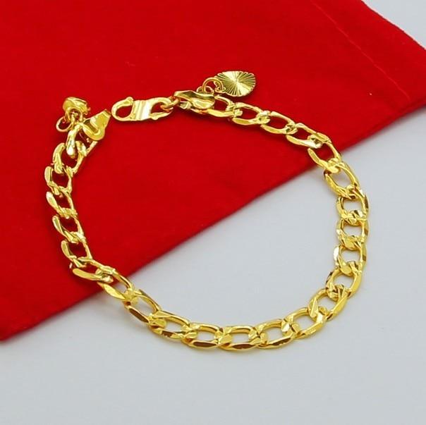 Genuine 24k Gold Bracelet Jh 018 Square Interlocking Fashion Unique Ultra Low Cost Whole