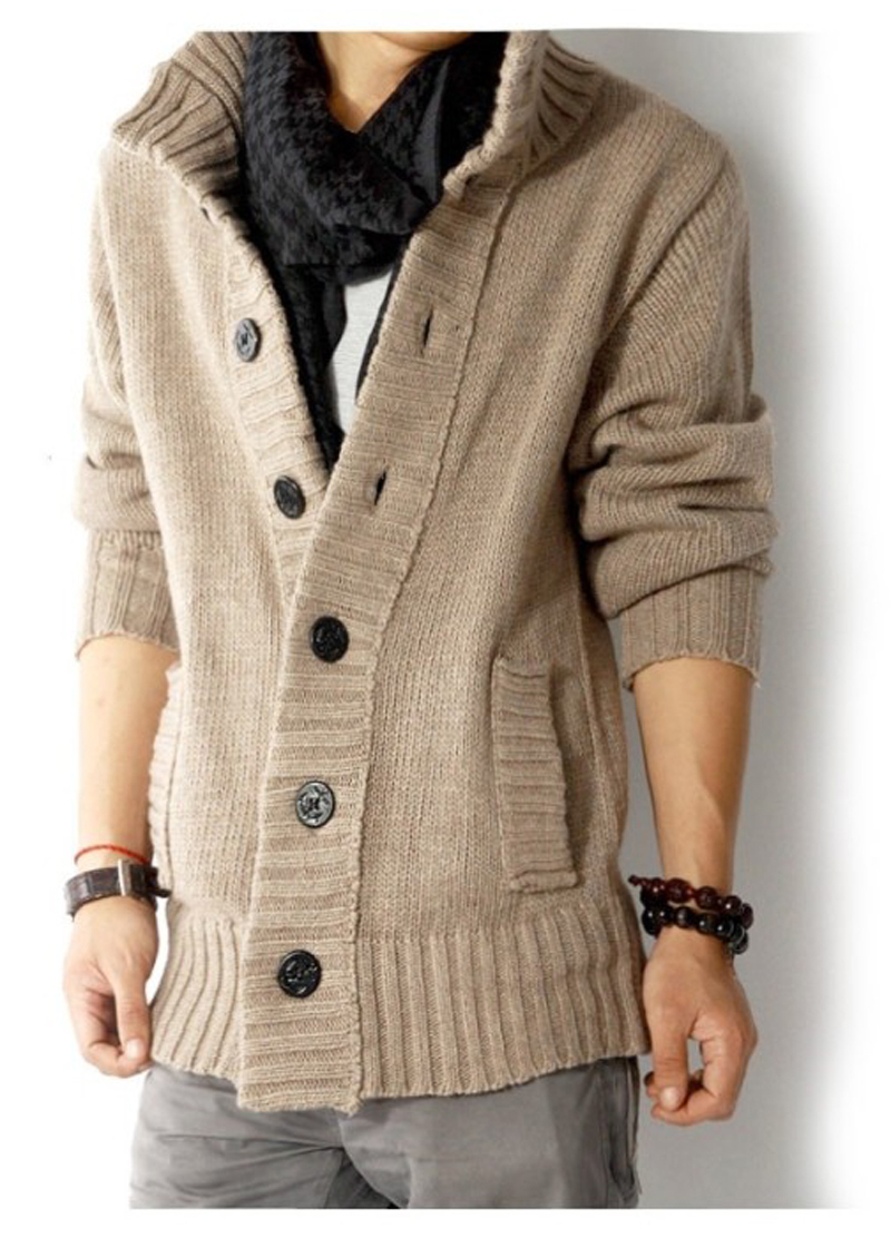 Cheshanf New Brand Mens Sweaters Open Stitch Slim Fit Cardigan Men Casual Thicken Clothing Cardigan 4 Color Size:M-XXL