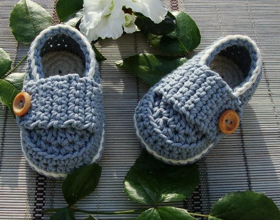 pengiriman gratis, sepatu bayi Crochet sandal / sepatu balita / Crochet Baby Boy Tombol Loafers 100% katun ukuran: 9cm, 11cm, 13cm