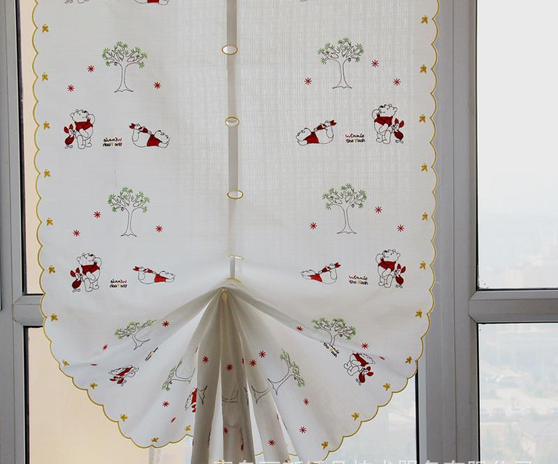 New Design Cortinas Curtains For Living Room Balloon Kitchen Curtains Kids  Bear Embroidered Chinese Curtain Set