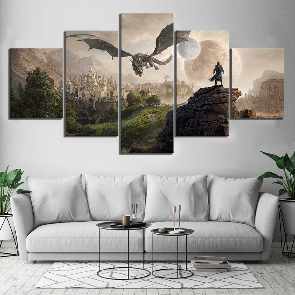 HD Print Elder Scrolls 4 Skyrim Game Canvas 5 Piece Wall Art Wall Art Canvas Painting For Canvas Wall Art For Living Room image