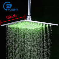 POIQIHY Brushed Nickel LED 16 Square Rainfall Shower Head Stainless Steel Color Changing Lights Shower head