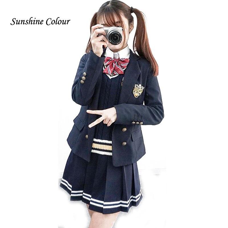 Hot Autumn Senior High School Students Clothes Suits Uniforms Chorus Clothing Girls Tracksuits Suits Coat+Shirt+Tie+Badge