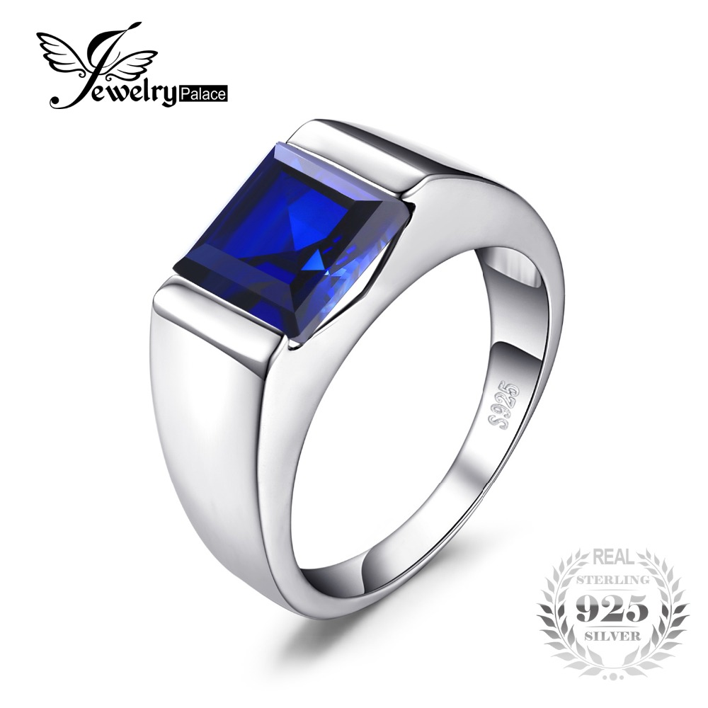 Jewelrypalace square men 39 s blue sapphire ring for Man made sapphire jewelry