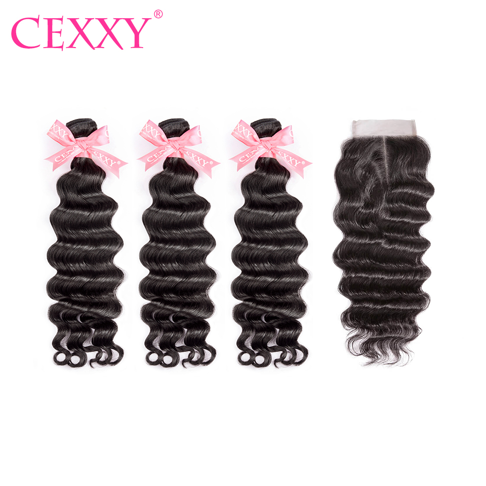 CEXXY Hair Weave Bundles Malaysian Natural Wave Human Hair Bundles With 4 4 Lace Closure Virgin