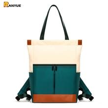 Naylon su geçirmez 15.6 Laptop sırt çantası kadın büyük kapasiteli bayan el çift omuz çantaları kadın sırt çantası Satchel seyahat Bolsa