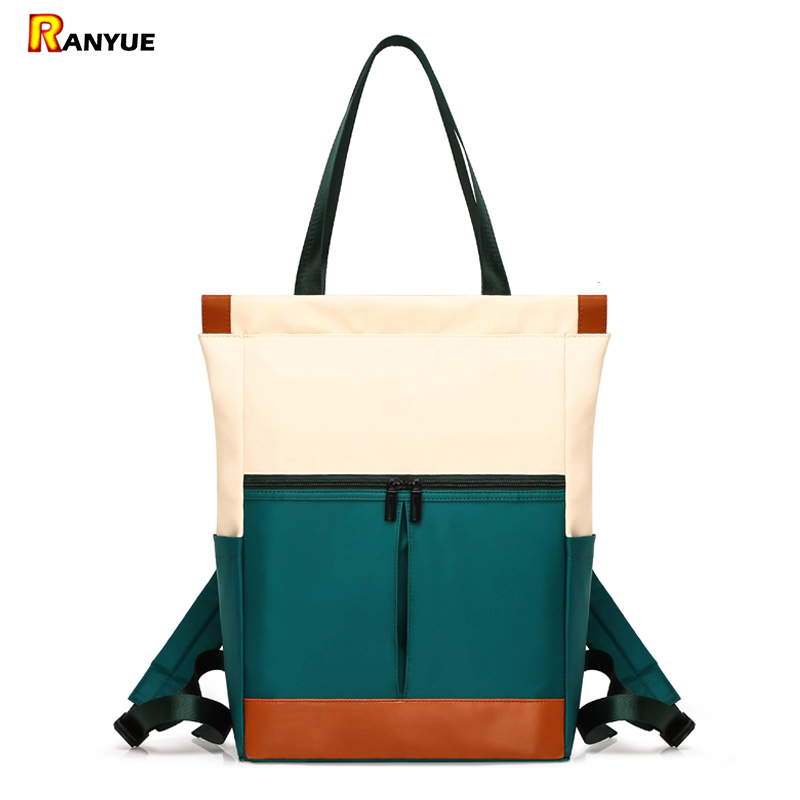 Nylon Waterproof 15.6 Laptop Backpack Women Large Capacity Ladies Hand Double Shoulder Bags Female Bagpack Satchel Travel Bolsa