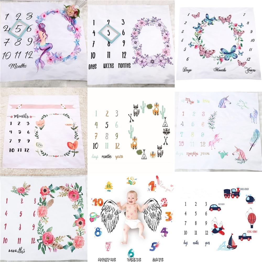 Реквизит для фотосъемки младенцев с мультяшным рисунком, одеяла для заднего фона, тканевый фон с календарем, аксессуары для фотосъемки маль...
