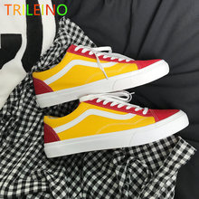 c88898f5d4020b TRILEINO VANSGET low-top CLASSICS Unisex MEN WOMEN Leather RED YELLOW canvas  shoes