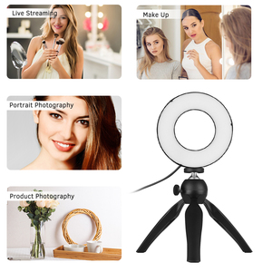 Image 4 - Photography LED Selfie Ring Light 12CM Dimmable Camera Phone Ringlight With Table Tripods For Makeup Video Live Studio Maquillaj
