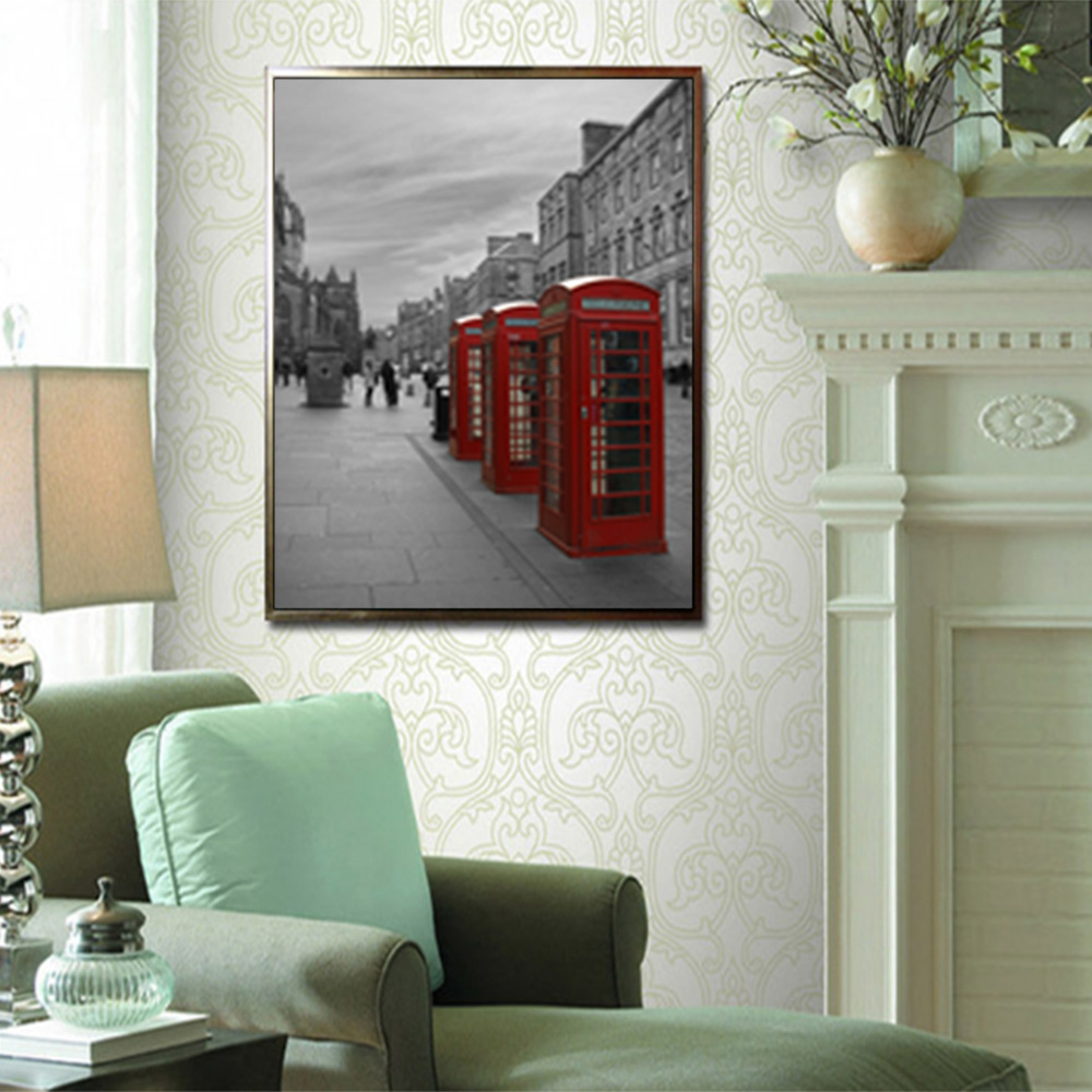 Unframed Canvas Prints Black And White Nordic Style Red Phone Booth Prints Wall Picture For Living Room Wall Art Decoration