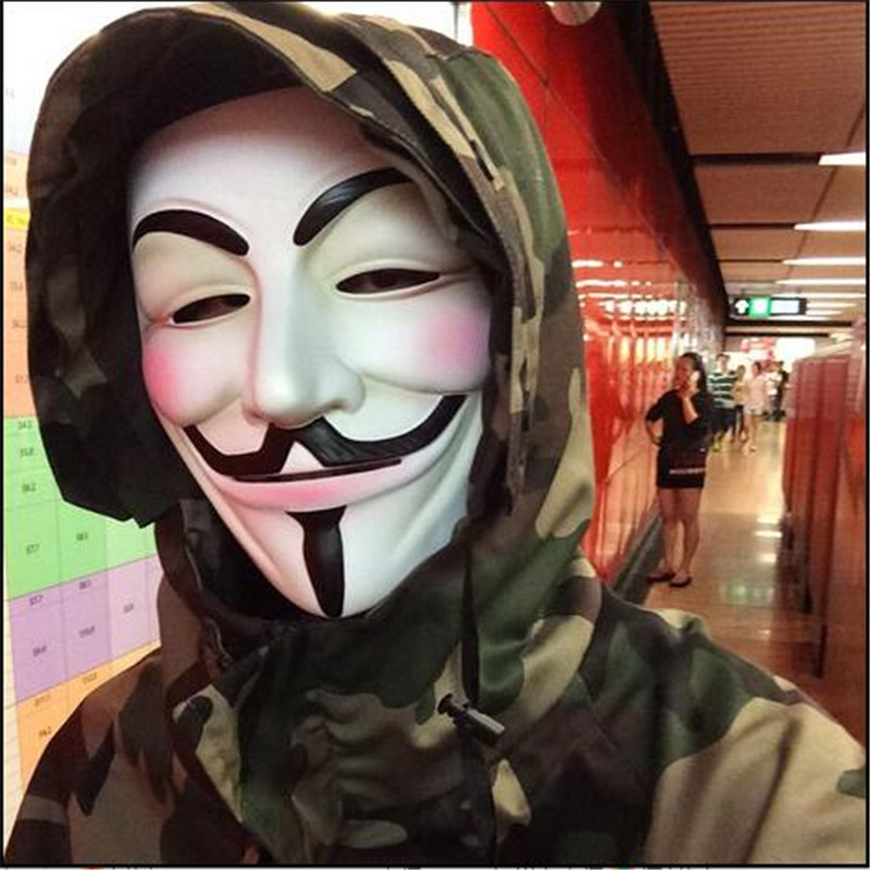 Robotic Costume Mask Guy Fawkes Anonymous Halloween Cosplay Party Fancy Dress W