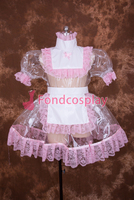 Sexy Lockable Clear PVC Sissy Maid Short Dress Cosplay Costume Uniform[T002]