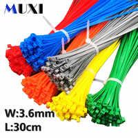 100 Pcs/tasche 4x300 4*300 3,6mm Breite Self-Locking Grün Rot Blau Gelb nylon Draht Kabel Zip Krawatten. kabel krawatten